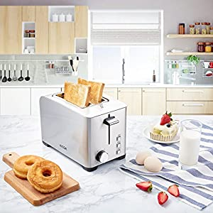 Aicok 2-Slice Toaster, Brushed Stainless Steel Toaster, Extra Wide Slot Fit Bagel, 6 Toast Shade Setting and Defrost Function, 850W, Silver