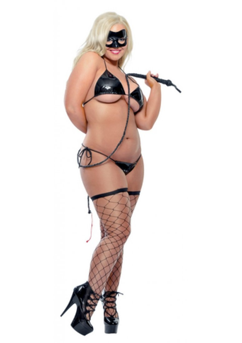 Fetish Fantasy Lingerie Karnal Kitty Costume with Whip, Queen, Black