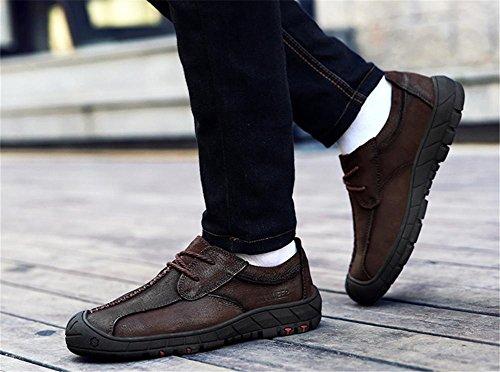 Männer Knöchel Draussen Leder Schuhe Herbst Winter Freizeit Gemütlich Spitze Braun Rutschfest Bergsteigen dark brown