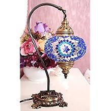 New BOSPHORUS Stunning Handmade Swan Neck Turkish Moroccan Mosaic Glass Table Desk Bedside Lamp Light with Bronze Base (Blue)