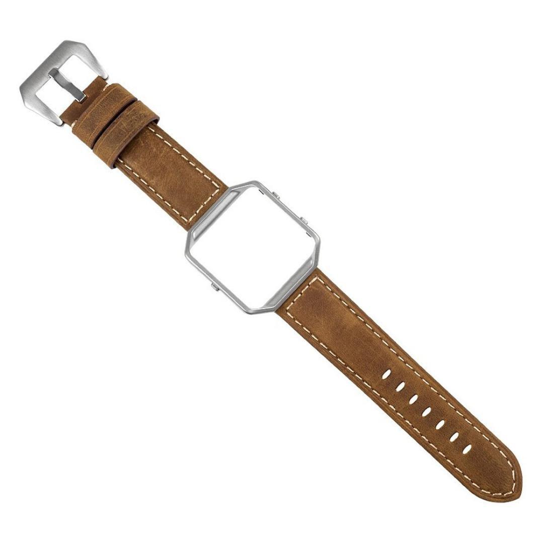 レザー時計ストラップ、RTYOu ( TM )新しい高級レザー時計バンド手首ストラップ+メタルフレームfor Fitbit Blazeスマート時計 ブラウン ブラウン B077YB57SJ