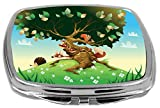 Rikki Knight Compact Mirror, Cartoon Landscape with Animals, 3 Ounce