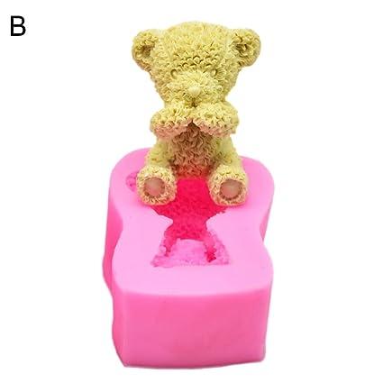 steellwingsf Cute oso de peluche molde de silicona para hornear decoración de pasteles jabón molde de