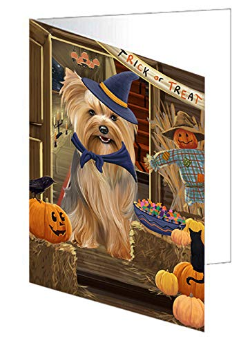 Enter at Own Risk Trick or Treat Halloween Yorkshire Terrier Dog Greeting Card GCD64091 (10)]()