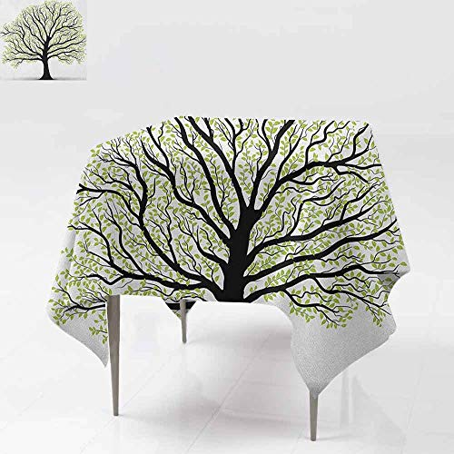 AndyTours Washable Square Tablecloth,Tree of Life,Big Old Lush Tree with Lot of Leaves and Branches Nature Growth Eco Art,Dinner Picnic Table Cloth Home Decoration,50x50 Inch Black White Green
