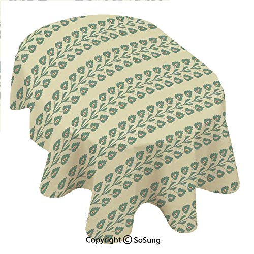 (SoSung Floral Oval Polyester Tablecloth,Vertical Wavy Ornament Lines and Graphic Flowers on Branch Pattern,Dining Room Kitchen Oval Table Cover, 54 x 72 inches,Cream Orange and Jade Green )