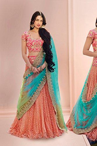 Da Facioun Womens Striking Circular Lehenga Style in Orange 83832