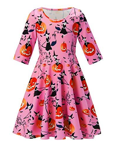 RAISEVERN Little Girls Halloween Dress Pink Pumpkin Lantern Bat Printed 3/4 Sleeve Casual Party Swing Dress for $<!--$15.99-->