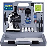 : AMSCOPE-KIDS M30-ABS-KT2-W Microscope Kit with Metal Arm and Base, 6 Magnifications from 20x to 1200x, Includes 52-Piece Accessory Set and Case, Awarded The 2016 Top Pick of Microscopes For Beginners