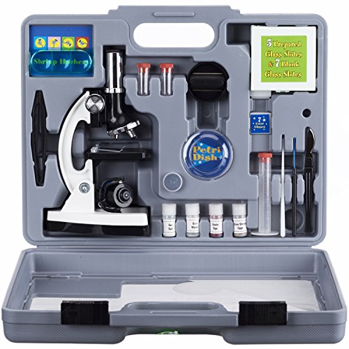 AMSCOPE-KIDS M30-ABS-KT2-W Microscope Kit with Metal Arm and Base, 6 Magnifications from...