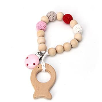 1pc Wood Dummy Clip Pacifier Chain Baby Soother Wooden Crochet Teether Saver Toy