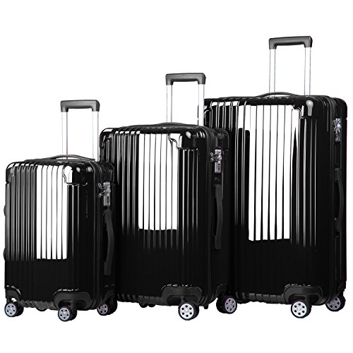 Merax Dawnrise Luggage Set 3 Piece Suitcase ABS+PC with TSA Lock and Dual Spinner Wheels (Black)