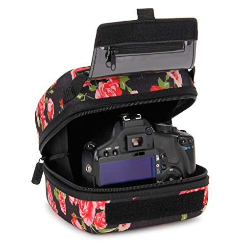 - USA GEAR Quick Access DSLR Hard Shell Camera Case (Floral) with Molded EVA Protection, Padded Interior, Holster Belt Loop and Rubber Coated Handle - Compatible W/Nikon, Canon, Pentax, Olympus & More