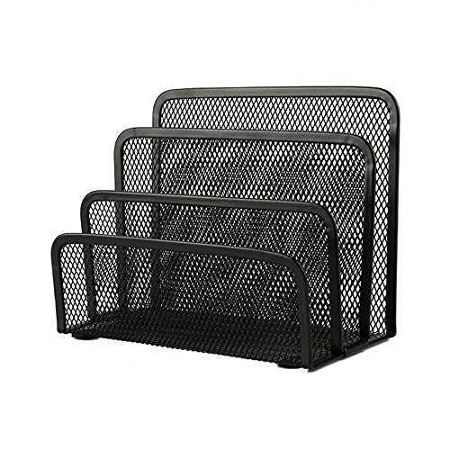 (VANRA Small Letter Sorter Desktop File Holder Organizer Metal Mesh with 3 Vertical Upright Compartments (Black))