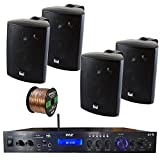 Pyle PDA7BU Amplifier Receiver Stereo, Bluetooth, FM Radio, USB Flash Reader, Aux Input LCD Display, 200 Watt, with 4X Dual 100 Watt 3 Way Indoor Outdoor Studio White Speakers, 50 FT Speaker Wire