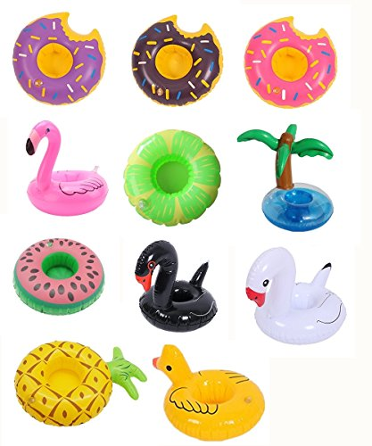 12 Pack Inflatable Drink Holder Unicorn Float,Fruit Donuts Flamingo Swan Plam Duck Inflatable Pool Cup Holders Coasters for Pool Party Water Fun -