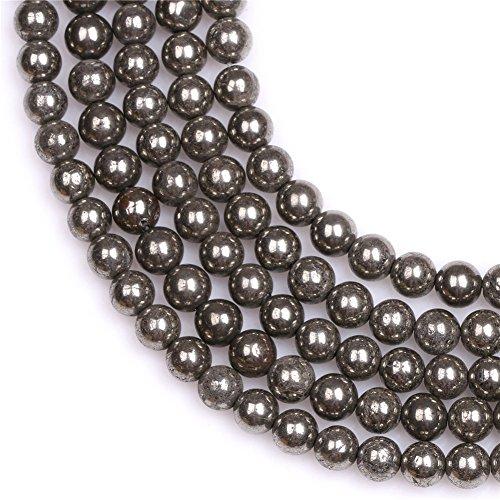 Joe Foreman 6mm Pyrite Beads for Jewelry Making Natural Semi Precious Gemstone Round Silver Gray Strand 15