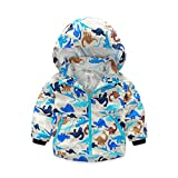 Mud Kingdom Boys' Dinosaur Print Hooded Jacket Zip-up Coat 3T