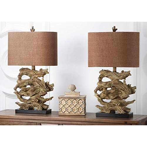 MISC Set of 2 - Golden Brown Driftwood Table Lamp Branch Light Stacked Pieces of Wood Lighting Nautical Decor Lakehouse Vacation Home Beach, Resin 26.75