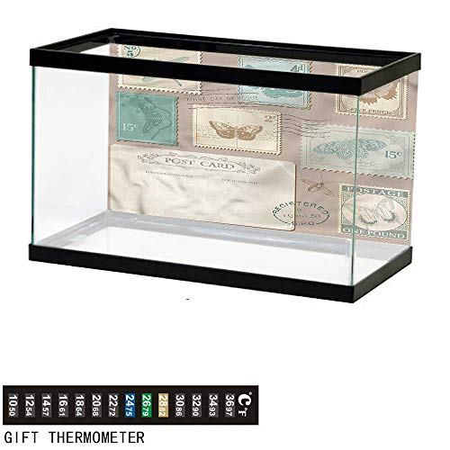 Suchashome Fish Tank Backdrop Vintage,Postcard Stamps Composition,Aquarium Background,72