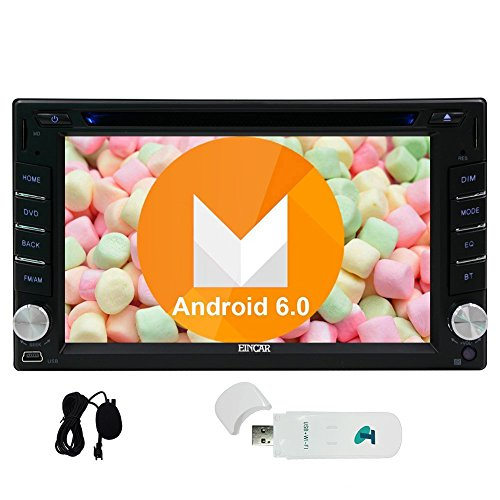 EINCAR Car Stereo Android 6.0 in Dash GPS Navigation Radio Stereo Quad-core 1.6G CPU Autoradio Bluetooth Double Din Touchscreen Head Unit Support USB/SD/Wifi/3G/OBD/Mirror Link Function