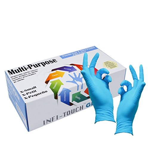 Infi-Touch, Multi Purpose Heavy Duty, Blue Nitrile Gloves, 9.5