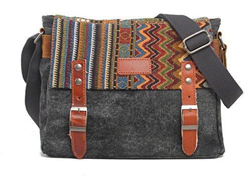 KISS GOLD(TM) Unisex Tribal Style Canvas Crossbody Messenger Bag 10.5-Inch (Dark Grey)