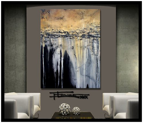 HUGE! LIMITED EDITION - Hand embellished, textural abstract painting. Giclee on Canvas. 48x36x1.5 TRANQUIL EARTH. Ready to Hang! by ELOISE WORLD STUDIO - ELOISExxx