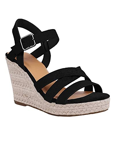 8b3f4a95cb3 Womens Espadrille Wedge Gladiator Sandals Platform Strappy Criss Cross Open  Toe Summer Beach Sandals Black