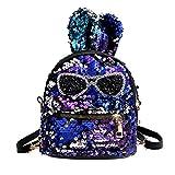 Inverlee Fashion Girls Sequins Shoulder Bag Student Children School Bag Travel Backpacks (Blue)