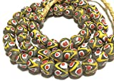 African dark olive green with red eye round Krobo powderglass fairtrade beads from Ghana