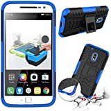 Tarkan Hard Armour Hybrid Bumper Flip Stand Rugged Back Case Cover For Moto G4 Play 5.0 inch [Blue]