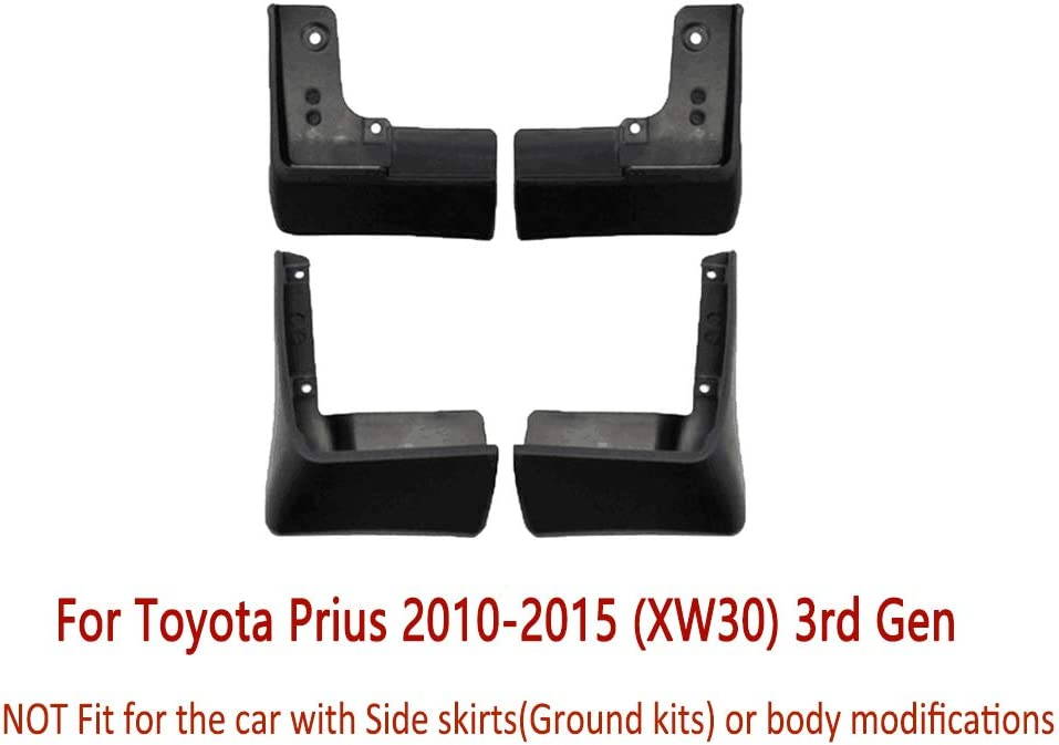 3rd Gen Fender Mud Guard Flap Splash Flaps Mudguards Accessories N2Qnice 4 PCS Front Rear Car Mudflaps for Toyota Prius 2010-2015 XW30
