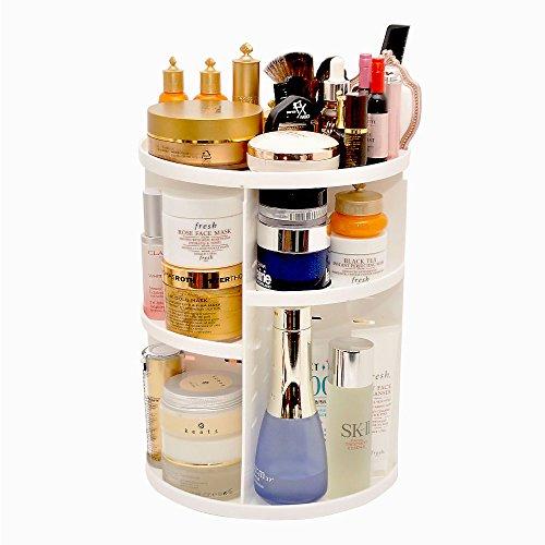 ECVISION 360 Rotating Makeup Organizer, DIY Adjustable Makeup Carousel Spinning Holder Storage Rack, Large Capacity Make up Caddy Shelf Cosmetics Organizer Box