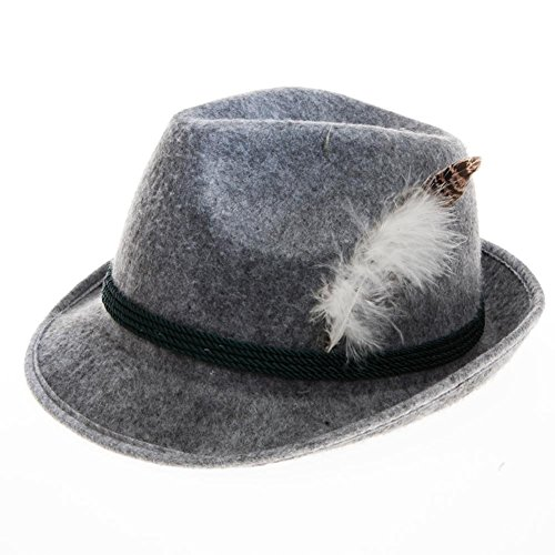 [Grey Feathered Oktoberfest Hat] (Oktoberfest Costumes Hat)