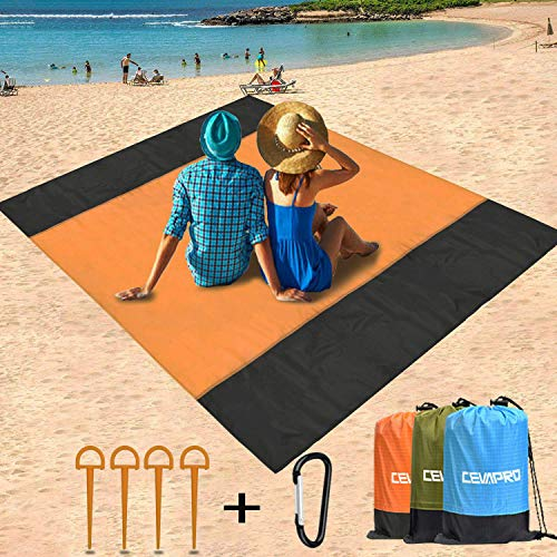 Yobenki Beach Blanket Sand Proof, 79×79 in Ultra Size Picnic Blanket Waterproof Beach Mats Compact Pocket Portable Beach Blanket for Beach, Travel, Camping, Hiking and Music Festivals (Best Ultra Music Festival)