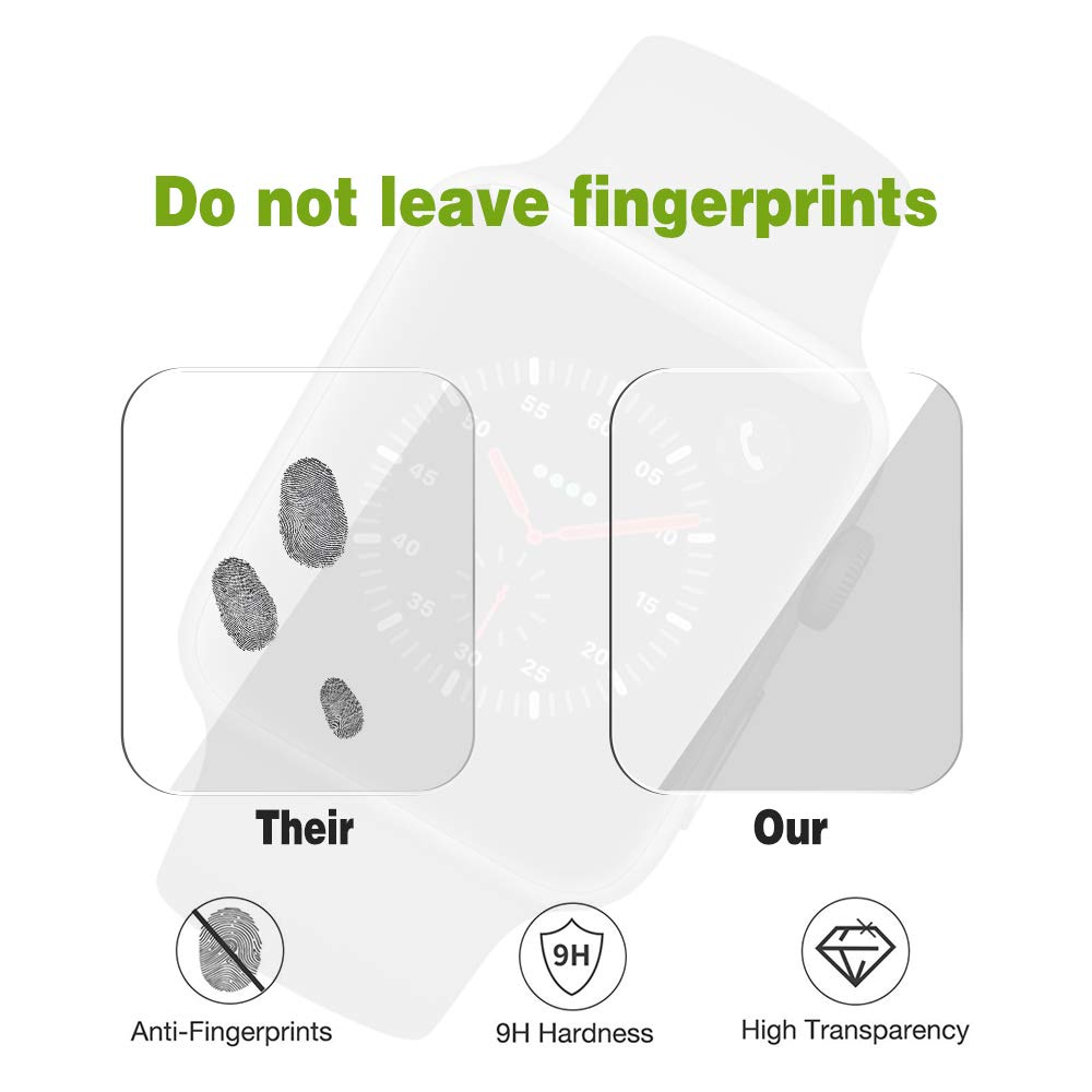 Etmury Screen Protector for Apple Watch 42mm Series 3/2/1, [6 Pack] 9H Hardness Tempered Glass Anti-Scratch Anti-Fingerprint Anti-Bubble Easy Installation, iWatch Case Only Covers Flat Area (Clear) by Etmury (Image #6)