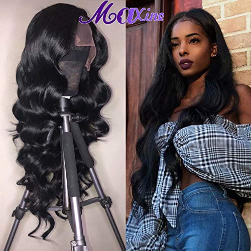 Maxine Body Wave Wigs Glueless Pre Plucked 360 Lace Wigs 180% Density Body Wave Human Hair Lace Frontal Wigs with Baby Hair for Black Women Natural Color(20inch) ()