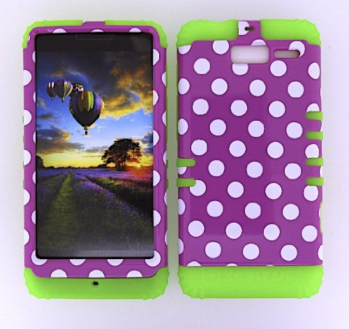 MOTOROLA DROID RAZR M CASE POLKA DOTS WHITE PINK GR-TP1647 HEAVY DUTY HIGH IMPACT HYBRID COVER LIME GREEN SILICONE SKIN XT907
