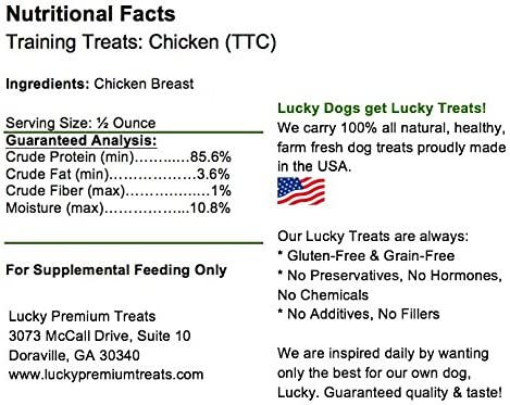 Lucky Premium Treats All Natural Training Treats – Chicken Jerky Dog Training Rewards – Natural Training Snacks Made in The USA