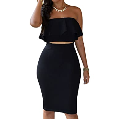 f502840e5 Eiffel Women's Off Shoulder Ruffle Crop Top Pencil Skirt Dress Two-Piece Set  Black