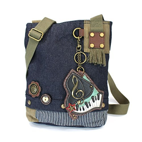 Chala Patch Cross-Body Handbag, Denim Canvas Messenger Bag, Detachable Piano Design Key Fob, Coin Purse