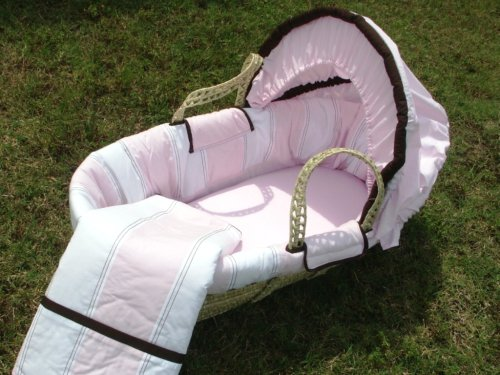 Bacati - Metro Pink/White/Chocolate Moses Basket