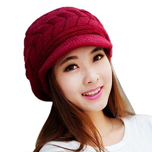 (Sothread Women Winter Baggy Warm Hat Rabbit Fur Knitted Ski Beanie Skull Caps with Visor (Watermelon)