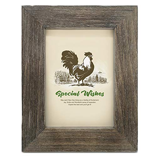 IKEREE 5x7 Picture Frames, 100% Handmade with Rustic Looking, Built-in Easel for Tabletop or Wall Display, Weathered Gray
