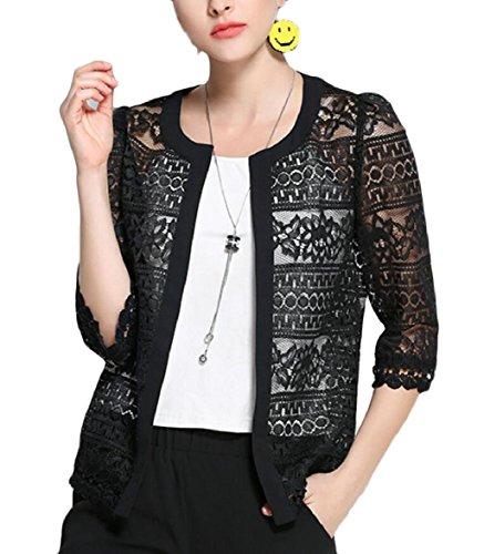 FLCH+YIGE Women 3/4 Sleeve Open Front Lace Crochet Summer Cardigan Black L