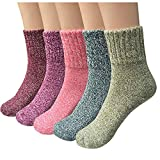 Troy Womens 5 Pairs Vintage Style Winter Warm Thick Knit Wool Cozy Crew Socks