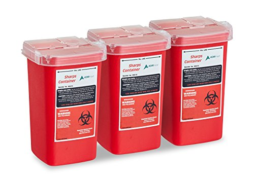 AdirMed Sharps & Needle Biohazard Disposal Container 1 Quart - 3 Pack by Adir Med