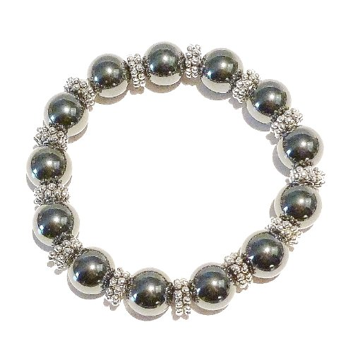 Grey Hematite Gemstone Handcrafted Stretch Bracelet 21cm
