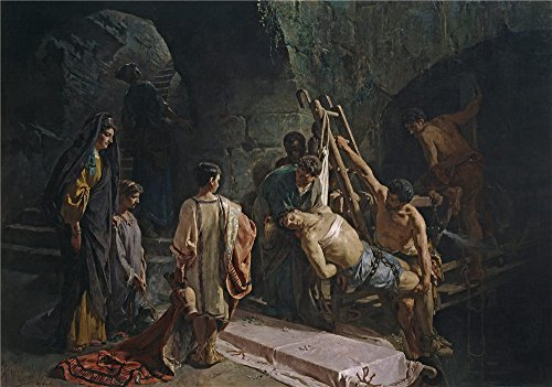 High Quality Polyster Canvas ,the High Resolution Art Decorative Canvas Prints Of Oil Painting 'Ferrant Y Fischermans Alejandro The Burial Of Saint Sebastian (Saint Sebastian In The Cloaca Maxima) 1877 ', 10 X 14 Inch / 25 X 36 Cm Is Best For Home Office Decoration And Home Gallery Art And Gifts